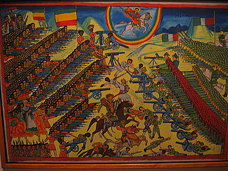 Ethiopian nationalism - Painting depicting the Battle of Adwa of 1896 where Ethiopian forces were victorious over invading Italian forces. The victory is cherished as an example of Ethiopia upholding its independence against European colonial powers, and is annually celebrated in Ethiopia in Victory at Adwa Day.