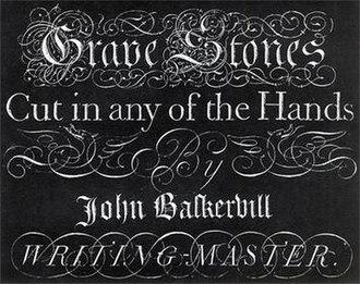 Baskerville - Image: John Baskerville writing master slab