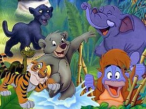 Jungle Cubs - The Jungle Cubs kids: Shere Khan, Kaa, Bagheera, Baloo, Hathi, and Louie.
