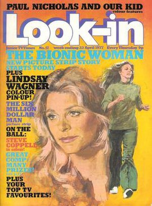 Look-in - 1977 cover of Look-in featuring The Bionic Woman, painted by Arnaldo Putzu