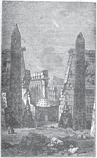 Luxor Temple - The original two obelisks, as seen in 1832. The one on the right is now in Paris, known as the Luxor Obelisk.