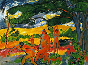 Max Pechstein - Max Pechstein, 1911, Under the Trees (Akte im Freien), oil on canvas, 73.6 x 99 cm (29 x 39 in), Detroit Institute of Arts