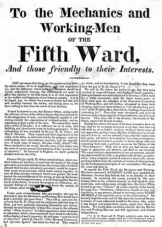 Mechanics' Union of Trade Associations - To The Mechanics and Working Men of the Fifth Ward condemned the working conditions in Philadelphia.