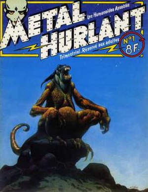 Jean Giraud - Mœbius cover art for the first Métal Hurlant issue and the second Heavy Metal issue