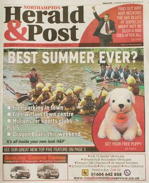 Northampton Herald & Post - Front page in new format from 11 July 2013