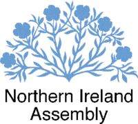 The logo of the Northern Ireland Assembly, a six flowered linen or flax plant.