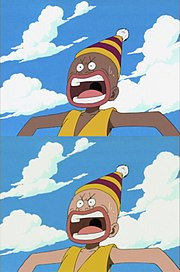 A scene in One Piece where the 4Kids version (bottom) removed blackface from the Japanese version (top); blackface is viewed as racially offensive in the United States