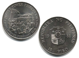 People Power Revolution - 10-peso coin commemorating the People Power Revolution