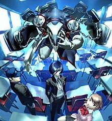 Two male and one female student stand in a classroom.  Behind and above the Protagonist, who stands at the center, is the Persona Thantos, a humanoid demon with eight coffins attached to its body via chains.