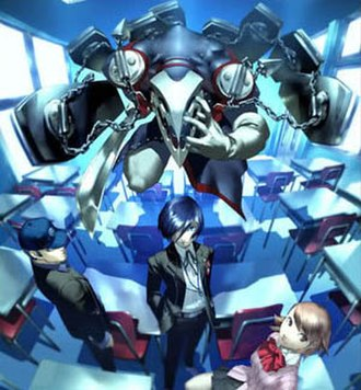 "Persona 3 - A Japanese ad for Persona 3, created by the game's art director, Shigenori Soejima.  The ad ""contains three important game elements: school, Persona, and friendship."""