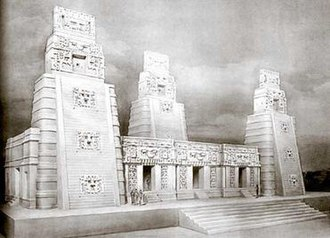 Tatiana Proskouriakoff - Proskouriakoff's reconstructive drawing of Structure 1 at Xpuhil (1943)