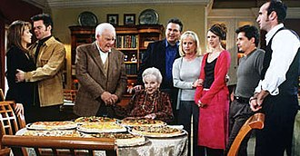 Quartermaine family - The Quartermaine family with their traditional pizza Thanksgiving dinner