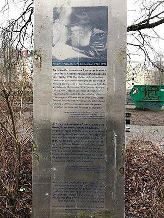 Menachem Mendel Schneerson - A monument for Schneerson in Berlin.