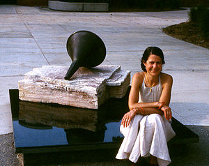 Sharon Que - Sharon Que with one of her public sculptures
