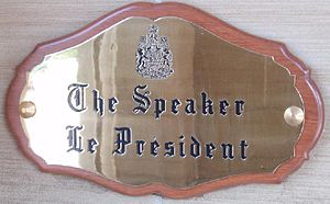 Speaker of the House of Commons (Canada) - Plaque at the western entrance of the Centre Block of Parliament Hill.
