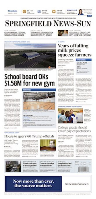 Springfield News-Sun - Front page of March 4, 2019