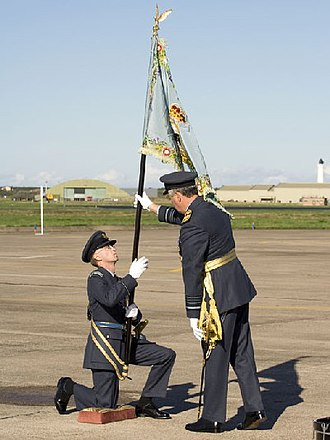 Royal Auxiliary Air Force - The 2622sqn RAuxAF Regiment standard is presented to an officer on 30 September 2006