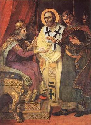 Saint Sava - Sava reconciling his quarreling brothers, Paja Jovanović (1901).