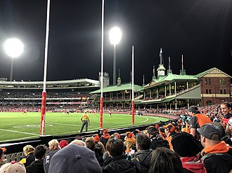 View towards the members' stands as seen during the 2018 second elimination final between the Swans and the Giants Sydney Cricket Ground September 2018.jpg