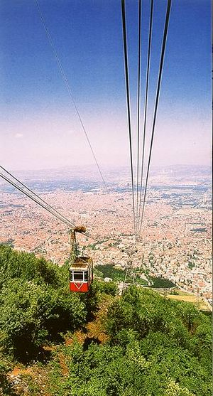 Yıldırım, Bursa - The scenery of Bursa from Uludağ with the old aerial tramway.