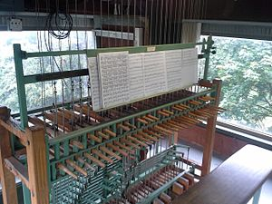 Exhibition Place Carillon - The Exhibition Place Carillon console (manual and pedals) in the playing chamber in 2015