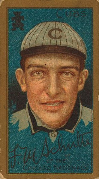 1911 in sports - A cigarette card image of baseball star Frank Schulte, winner of the Chalmers Award in 1911