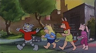 Ralph Bakshi - An image from Fritz the Cat, with Fritz and a trio of young females he is trying to pick up by Washington Square Park. The background demonstrates one of the film's stylistic innovations: it is a watercolor painting based on a tracing from a photograph.