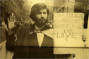 Louis Abolafia - Louis Abafolia holding a campaign-related sign during his run for the United States Presidency.