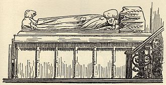 Malmesbury Abbey - An early 20th-century engraving of King Æthelstan's tomb