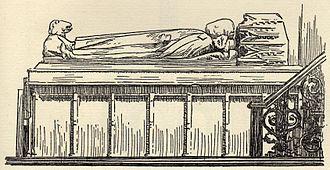 Malmesbury Abbey - An early 20th-century engraving of King Æthelstan's tomb