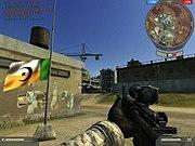 Battlefield 2 Screenshot showing an USMC Spec Ops player capturing a MEC flag.