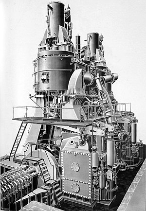 RMS Campania - One of Campania's triple expansion engines.