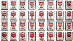 Campbell's Soup Cans by Andy Warhol, displayed in the Museum of Modern Art, New York