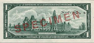 Commemorative banknotes of the Canadian dollar - The obverse (top) and reverse (bottom) of the Canadian Centennial $1 banknote, version with dates.
