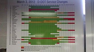 Detroit Department of Transportation - Image: Detroit DOT Sunday Sched Chgs 2012 03 04