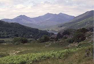 Dyffryn Mymbyr - View from just behind Y Pincin in Capel Curig showing the complete Dyffryn Mymbyr valley to its head at the Pen-y-Gwryd hotel