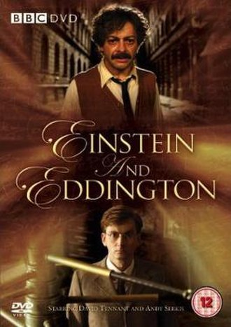 Einstein and Eddington - BBC DVD cover, featuring Andy Serkis as Einstein (top) and David Tennant as Eddington (bottom)