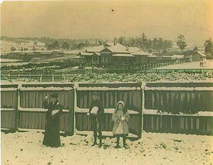 Eyres House, Soldiers Hill, Ballarat - Snow at 810 Ligar St., Soldiers Hill, Sept. 25, 1905