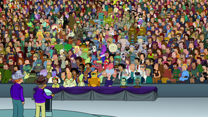 Futurama: Into the Wild Green Yonder - This screenshot shows every character, at the time of the movie, from the Futurama series.