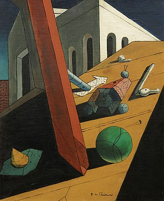 Giorgio de Chirico - Le mauvais génie d'un roi (The Evil Genius of a King), 1914–15, oil on canvas, 61 × 50.2 cm, Museum of Modern Art, New York