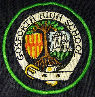 Gosforth Academy - A green year-indication ring around the then High School logo.