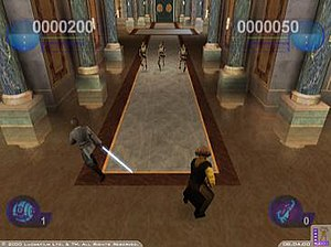 Star Wars Episode I: Jedi Power Battles - Jedi Power Battles allows for two players to progress though the game. Here, players control Jedi Masters Mace Windu and Plo Koon as they battle against Trade Federation battle droids.