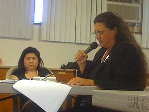 Opposition to the Mauna Kea Observatories - Kealoha Pisciotta, a former Mauna Kea Observatory employee, testifies at a State hearing in 2011.