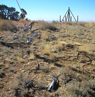 Wilkins Peak - The remains of the KUWZ tower still present in 2005