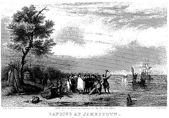 Lydia Sigourney - Landing at Jamestown, an engraving by A.L. Dick, was used as the frontispiece of Pocahontas and Other Poems.