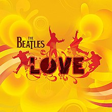"Orange outlines of the Beatles jumping on a swirling golden background in front of the word ""LOVE"""
