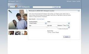 MSN WiFi Hotspots - A screenshot of MSN WiFi Hotspot Locator