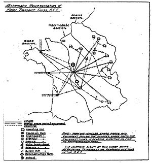 Motor Transport Corps - Map of France showing theory of MTC parks layout from the MTC manual