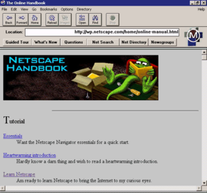 Netscape Navigator - Mosaic Netscape 0.9, a pre-1.0 version. Note the image of the Mozilla mascot, and the Mosaic logo in the top-right corner.