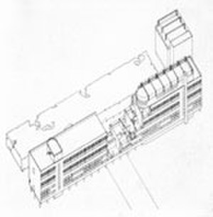 Narkomfin building - Isometric drawing of the Narkomfin building, showing cross-sections